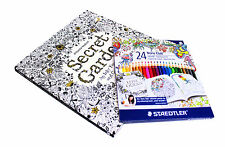 Secret Garden An Inky Treasure Hunt Colouring Book with 24 Staedtle  Pencils Set