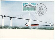 CARTE MAXIMUM FDC 1975 TIMBRE N° 1856 PONT SAINT NAZAIRE BATEAU