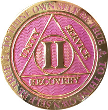2 Year AA Medallion Lavender Pink Gold Alcoholics Anonymous Sobriety Chip Coin