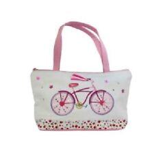Gisela Graham Pink & White Appliqued Bicycle Cotton Fabric Mini Handbag 26x16cm