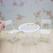 Garden Steel Round Table and Chairs Handcrafted White Dolls House Miniature 1/12