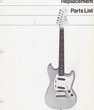 #Misc-1192 - 1970s Fender Mustang Guitar Replacement Parts List & Schematics