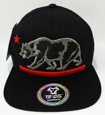 CALIFORNIA REPUBLIC Snapback Cap Hat Cali Bear 100% Cotton Black NWT