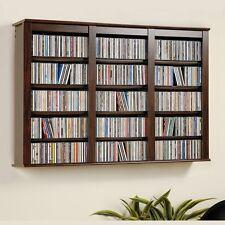 Wall Mounted Media Storage Shelves Cabinet Floating Espresso Hanging CD DVD