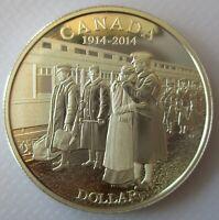 2014 CANADA 100th ANN OF WORLD WAR I PROOF 99.99% SILVER DOLLAR COIN