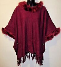 Fur Trim Poncho Sweater Fit M L XL 1X 2X Plus Burgundy Red Fringe Jacket NWT 481