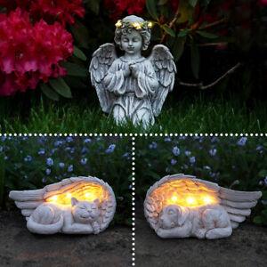 Solar Power Sleeping Pet Angel Grave Memorial LED Light | Outdoor Remembrance