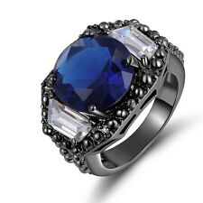 Cut Blue Sapphire Men Womens Fashion Ring 6.0Ct Size 7 Black Gold Filled Round