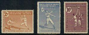 (GS4001) PHILIPPINES USA - 1934 FAR EASTERN CHAMPIONSHIP. MH. TENNIS, BASEBALL