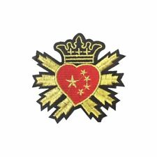 Heart Crown Rays (Iron On) Embroidery Applique Patch Sew Iron Badge