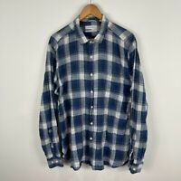 Trenery Mens Button Up Shirt XL Blue Grey Plaid Long Sleeve Collared