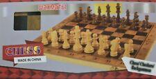 Schach Dame Backgammon  mit Figuren im Holzkasten NEU Maße ca. 39 x 39 cm