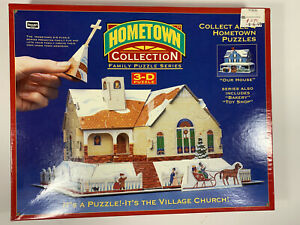 Factory Sealed Hometown Collection 3D 100 Piece Puzzle-Village Church-Rose Art