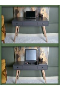 MAGIC GREY MAKEUP/OFFICE TABLE 2 IN 1 WITH MIRROR