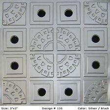 Decorative Glue Up Faux Tin Ceiling Tiles Silver Black  #135