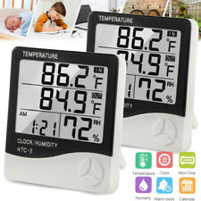 2pcs Indoor Outdoor Thermometer Weather Station Temperature Humidity Alarm Clock
