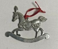 Rocking Horse Christmas Ornament Silver Metal 3""
