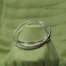 Beautiful 3 Intertwined Bangle Bracelet Shiny Silver Tone