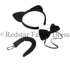 CATS EARS HEADBAND, BOW TIE AND COLLAR  BOOK DAY CATZ FANCY DRESS COSTUME