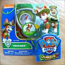 Nickelodeon PAW PATROL TRACKER Action Pup & BADGE NEW! JUNGLE RESCUE Dog Brown