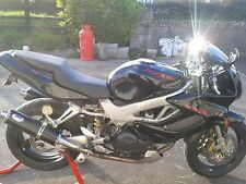 HONDA VTR1000 Firestorm Black Stainless Round Road-legal Motorbike Exhaust Cans