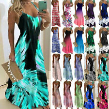 Women Boho Maxi Long Dress Summer Casual Beach Holiday Party Sundress Strappy AU