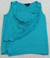Tank Top Tee T-Shirt Hayley Matthews Blue Medium Sleeveless Rayon Spandex Womans