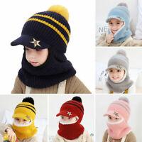 Baby Winter Warm Hat Scarf Toddler Girls Boys Ear Flaps Fleece Hood Balaclava