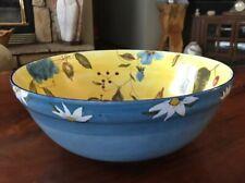 New listing Zrike 12 3/8� Pasta Salad Bowl Blue & Yellow W/ Daisies Flowers Apples Cherries