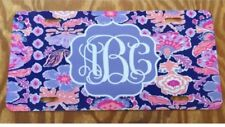 Monogram License Plate Purple Floral Personalized Car Tag New