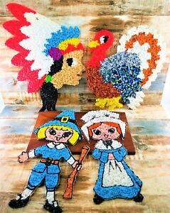 Melted Plastic Popcorn Thanksgiving Pilgrim Turkey & More Wall Art Door Greeter