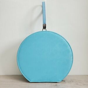 vintage train case round luggage Robbin egg blue vinyl read description