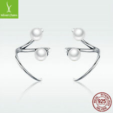 925 Sterling Silver Hook Earrings White Pearl Elegant Bridal Earrings Jewelry