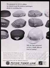 1967 airline stewardess hat cap variety photo Flying Tiger Line vintage print ad