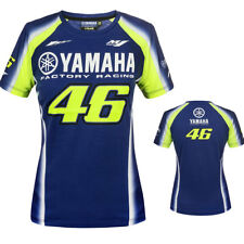 VALENTINO ROSSI VR46 BLUE YELLOW WHITE YAMAHA FACTORY RACING WOMENS T-SHIRT