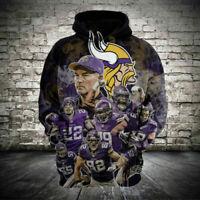 Minnesota Vikings Hoodie Football Hooded Sweatshirt Sports Jacket Gift for Fans