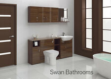 TOBACCO WALNUT GLOSS BATHROOM FITTED FURNITURE 1800MM WITH WALL UNITS