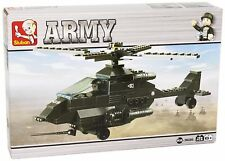 Sluban Army Attack Apache Helicopter construction play set with mini figures