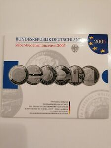 6 x 10 Euro Silber Gedenkmünzen Set von 2005 original Blister PP Spielglanz BRD