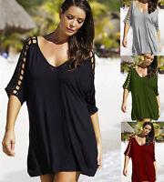 Damen Übergröße Lang Top T-shirt Mini kleider 42-50 Sommer Oberteil Schwarz Neu