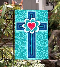 NEW Toland - Heart Cross - Christian Religion Blue Swirl Garden Flag