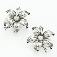 Mexican 925 Sterling Silver Flower Earrings VINTAGE Screw Post Modern Floral