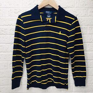 Boy's POLO RALPH LAUREN Sz M 10-12 Long Sleeve Blue & Yellow Michigan • VGUC‼