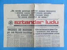 Stan wojenny - Sztandar Ludu - PZPR 14 XII 1981r. Newspaper Poland Martial law