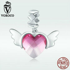 Voroco 925 Sterling Silver Wing of Love Bead Pendant Pink CZ Charm For Bracelet