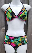 Body Glove Swim Bra Top D Cup Akela Wired Bikini Floral 2 way tie XS Bottom