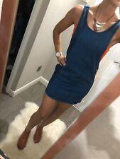 Topshop Vestido Denim Talla 6 XS Peto Azul Vacaciones De Verano Mini