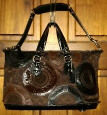 COACH Ashley Pieced Patchwork Satchel Shoulder Bag Black Brn SHW F 15474 $458
