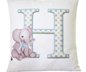 """Personalised Baby Boy letter - 16"""" white cushion cover boy nursery gift"""