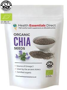 Organic Raw Chia Seeds (Essential Omega 3, Antioxidants, Superfood) Choose Size